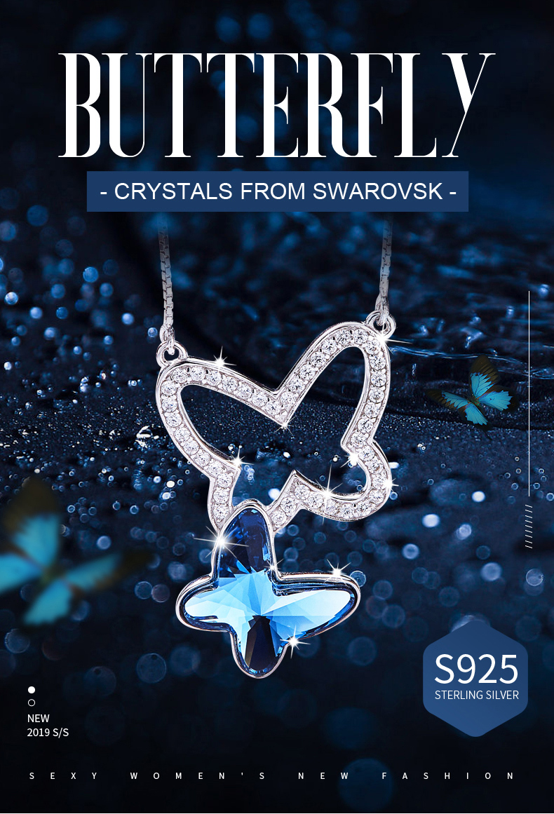 Blue Crystals from Swarovski Butterfly Necklace (1)