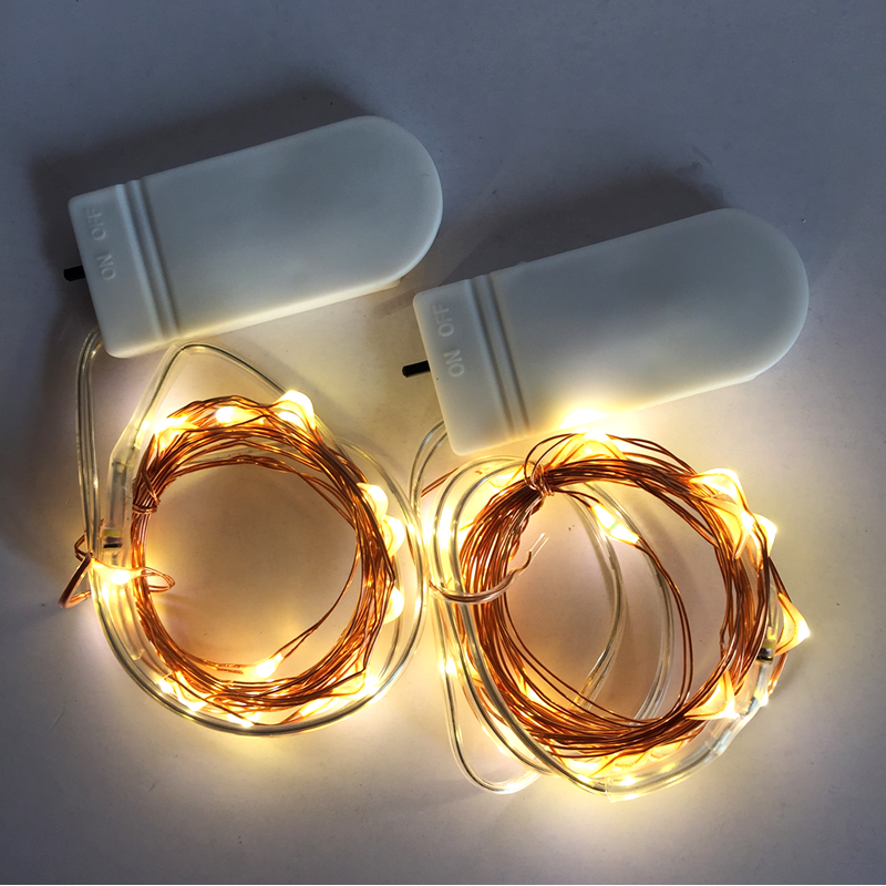 10PCS Cristmas Lights Koppar Wire Fairy Lights LED String Batteri Operated Lights Gerlyanda för Wedding Party Decoration
