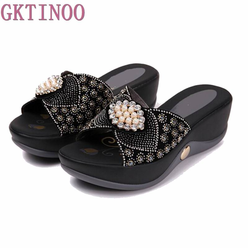 GKTINOO Women sandals comfortable geuine leather fashion womens casual shoes summer sandals plush size 35-41