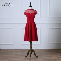 ADLN Vintage Knee length Red Graduation Dresses with Pearls A line Homing Coming Wear Cap Sleeve Party Wear