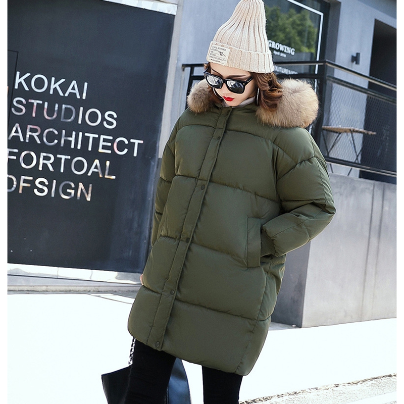 HOT SALE 2017 NEW FASHION WOMEN WINTER JACKER MEDIUM LENGTH LARGE FUR COLLOR THICKEN WARM FEMALE PARKAS COTTON WADDED COAT B179