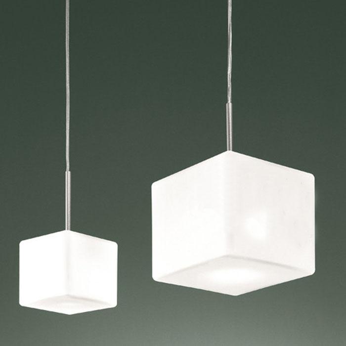 Moderne Cubi Suspension lampe lait blanc cubique verre cube Suspension lumière salle à manger restaurant hôtel bureau italie design éclairage