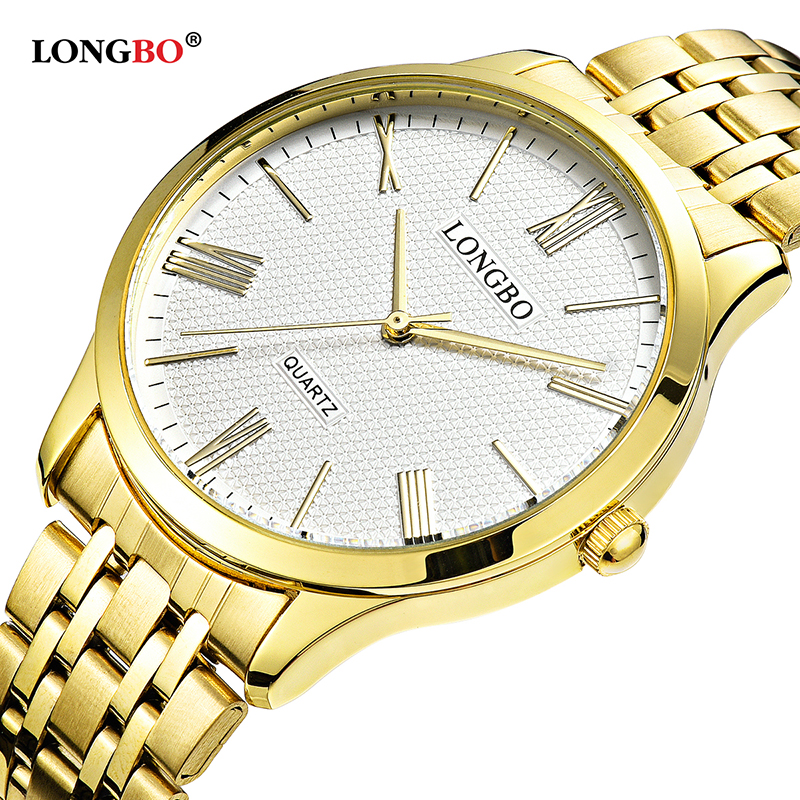 LONGBO Quartz Watch Lovers Watches Women Men Couple Analog Watches Steel Wristwatches Fashion Casual Watches Gold 1/pcs