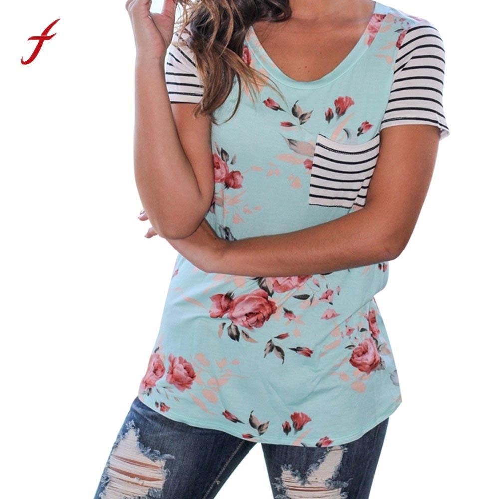 Feitong women causal t shirts 2018 fashion summer striped for T shirt print express