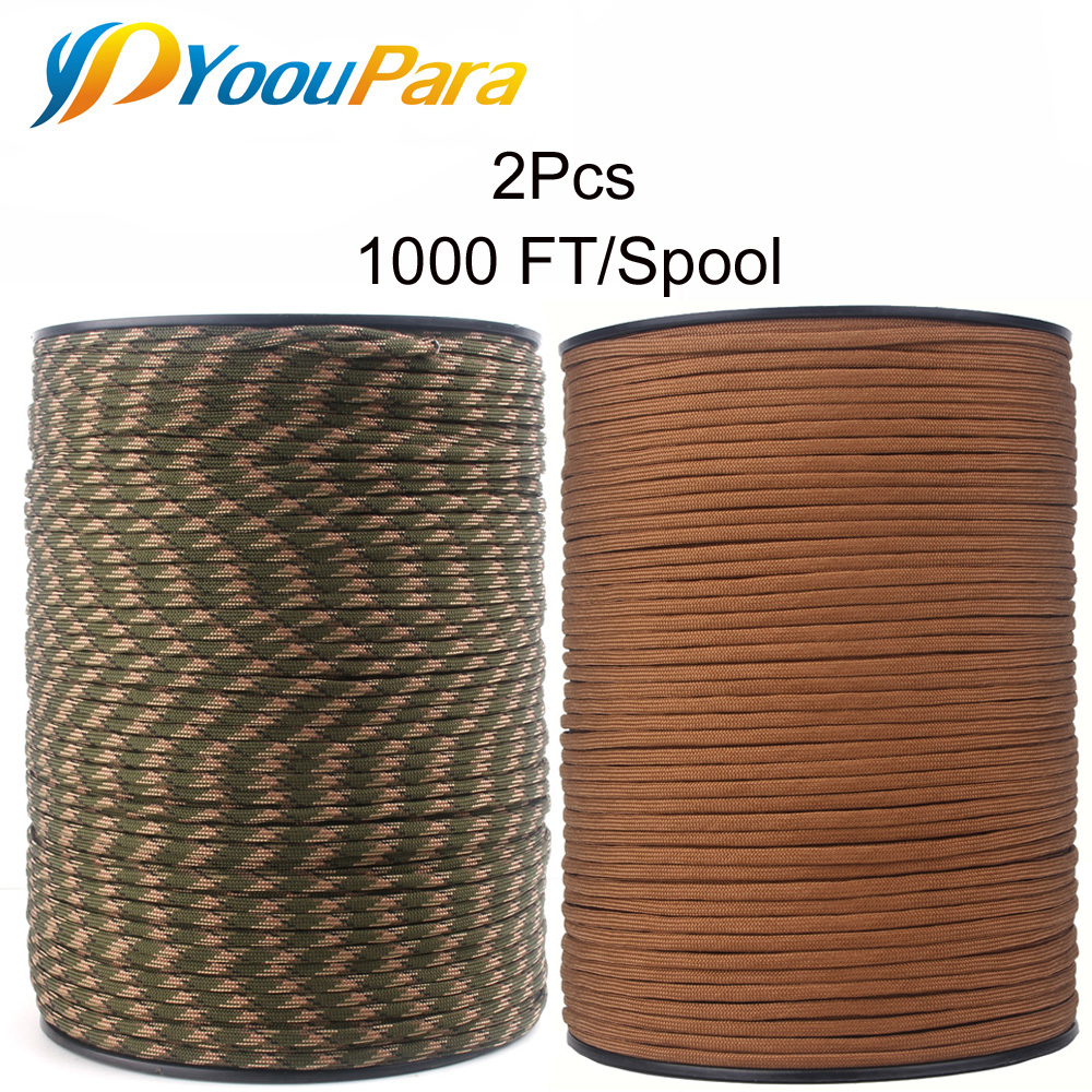 Wholesale 1000FT Paracord 550 7 Strands 4mm Outdoor Survival Emergency And DIY Rope Parachute Cord Lanyard Paracord 2 pcs oumily military army survival parachute rope black 30m 140kg 2 pcs