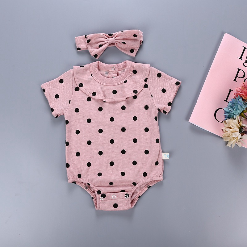 Fashion kids clothing Baby Girls Clothes Short sleeve Rompers 2pcs Cute Dot Jumpsuit+Kow Headwear Playsuit Outfits Sunsuit|Rompers| |  - title=
