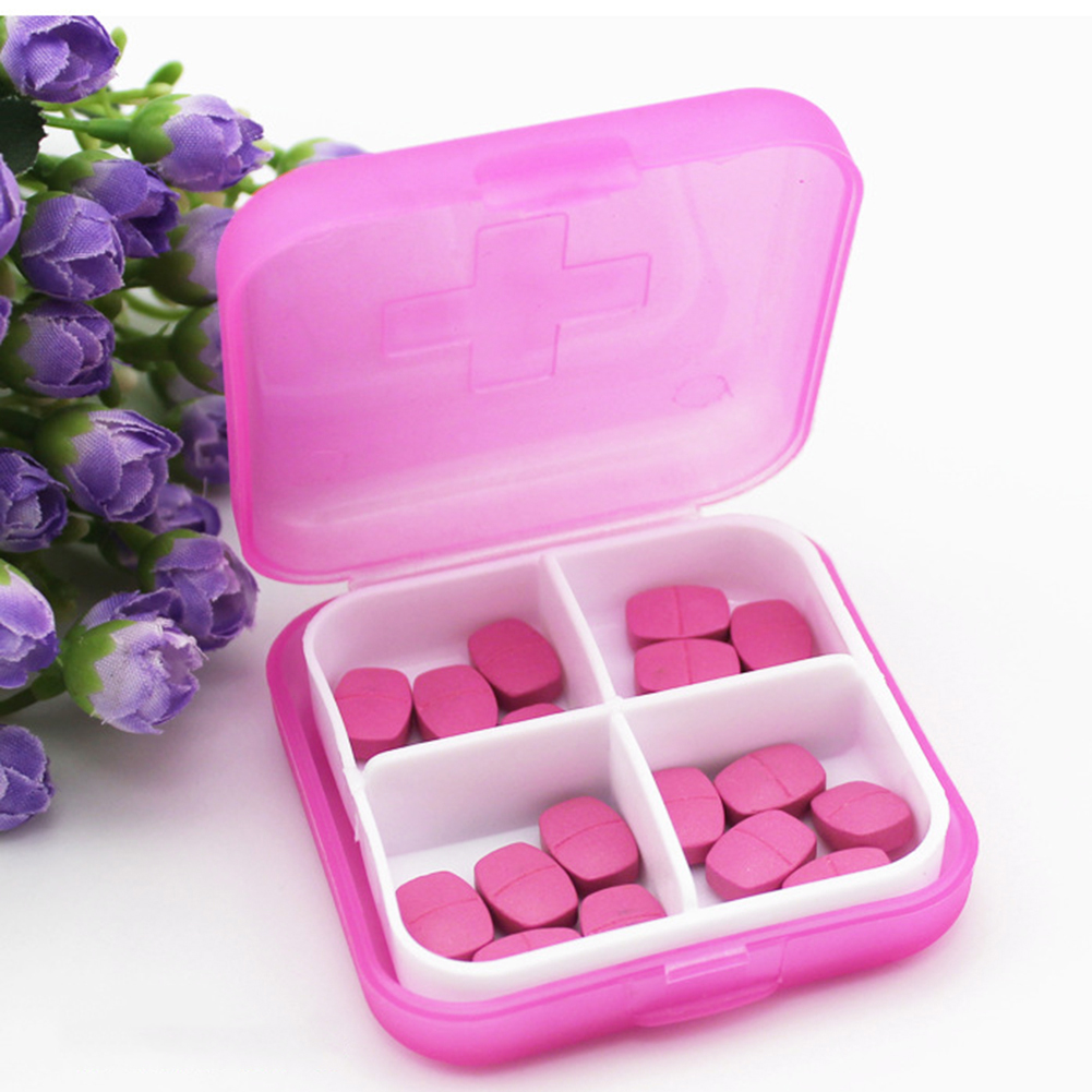 4 Slots Square Travel Pill Cases Outdoor Vitamin Cases Medicines Pill Box Portable Medicine Holder Pastillero 2