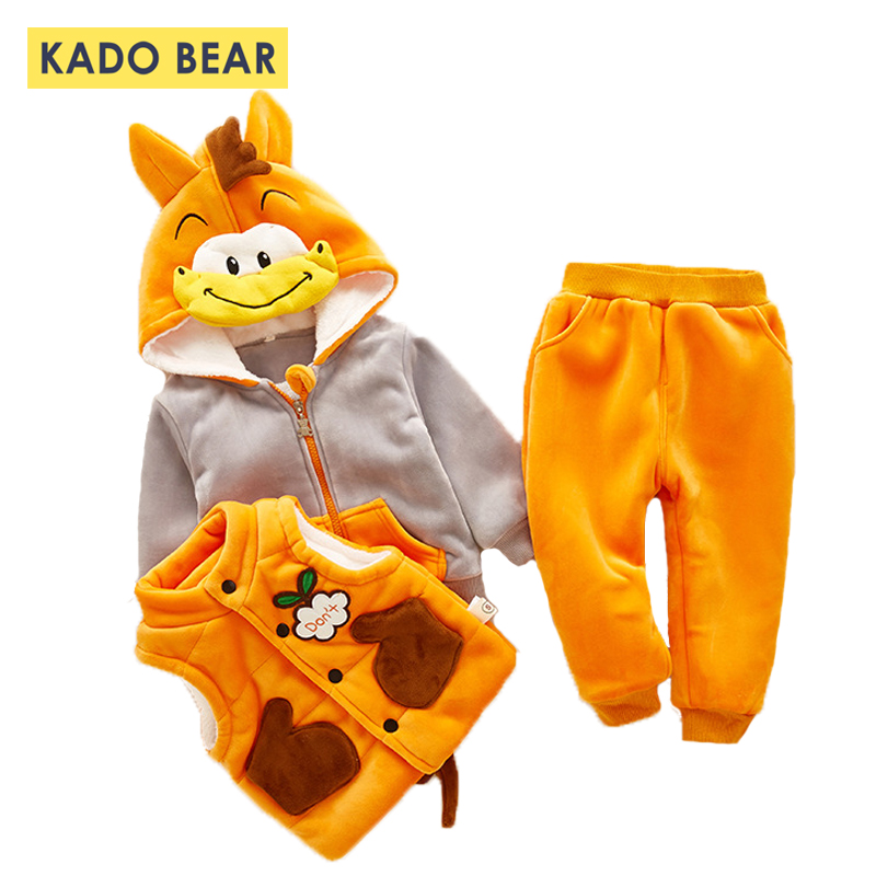 Newborn Baby Boy Clothing Set Toddler Girl Outfit Hooded Kids Winter Clothes Thick Warm Vest Boys Fur Coat Outerwear Pants 3 Pcs 2 pcs baby boy clothing set baby navy blue long sleeve warm velvet jacket boys hooded coat pants girls hoodies kids trousers
