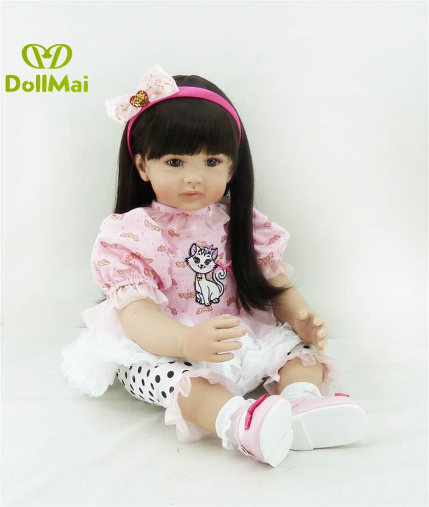 60cm vinyl Silicone Reborn Baby girl Doll Toy adorable Princess realistic Toddler time  dolls bebes reborn for children gift60cm vinyl Silicone Reborn Baby girl Doll Toy adorable Princess realistic Toddler time  dolls bebes reborn for children gift