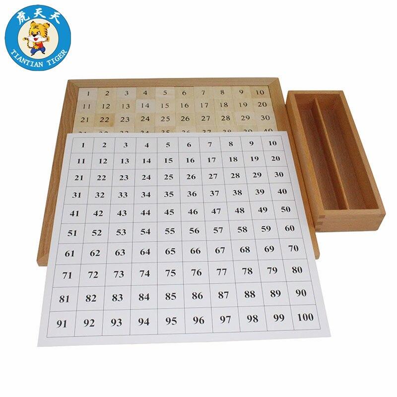 Montessori bébé jouets mathématiques apprentissage éducation jouets cent conseil mathématiques 1 à 100 numéros consécutifs avec tableau de contrôle