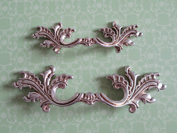 2 5 3 75 Shabby Chic Dresser Drawer Pulls Door Handles Antique Silver French Country Vintage