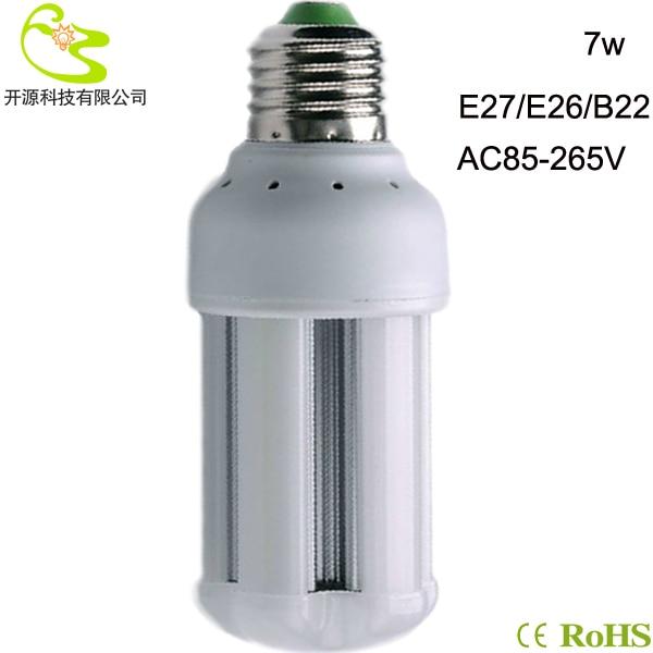 Free shipping  7W 3528 SMD led bulb light  85-265v high lumen 630lm luminaire lamp e27 7w led corn lighting lamp