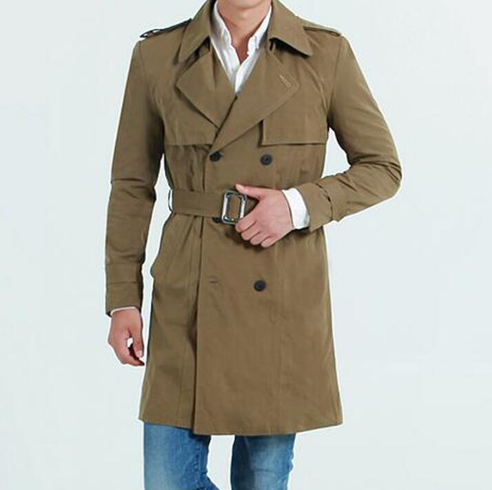 2017 new designer slim medium-long trench coat men overcoat long sleeve mens clothing double breasted outerwear casaco masculino