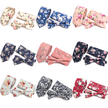 цены Mens Tie Set Fashion Print Flower Skinny Ties for Men England Cotton Necktie Accessories Party Man Gift Wedding Dress Neck Tie