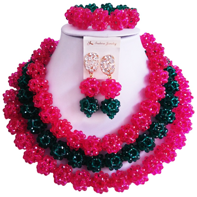 Free Shipping Fuchsia Pink Army Green Crystal Anniversary African Style Jewelry Set 3C-SJTQ-17 цены