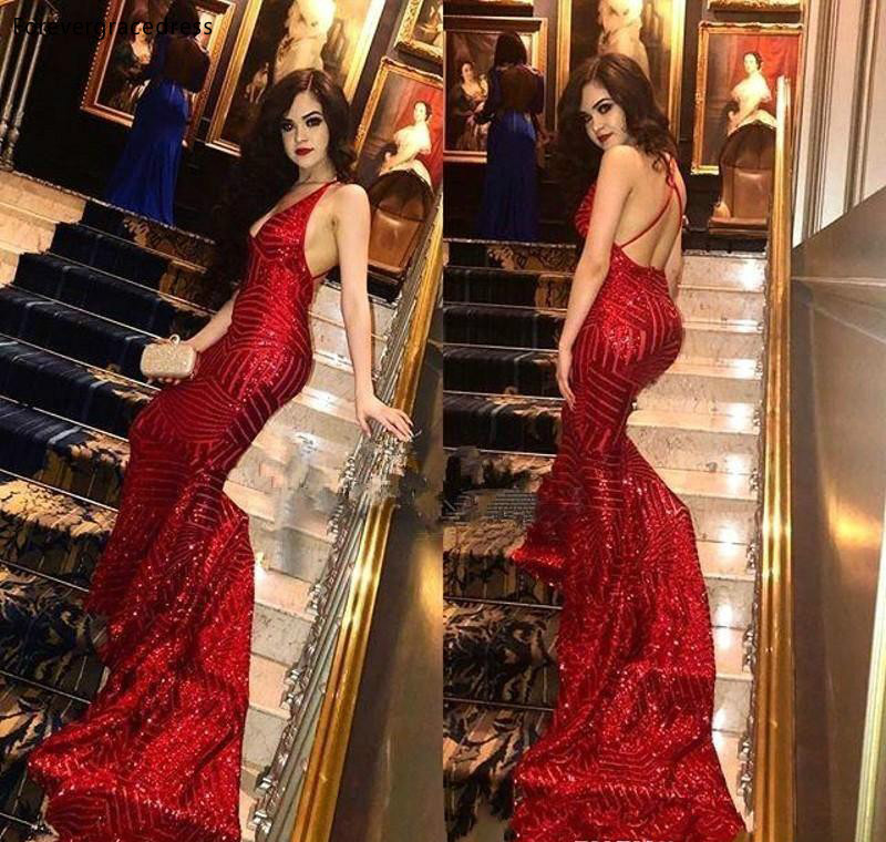 Sexy Red Prom Dresses 2019 Mermaid Full Sequins Backless Holidays Graduation Wear Party Gowns Plus Size Custom Made