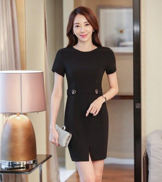 Formal Women Summer Dresses Short Sleeve Office Ladies Work Dress