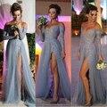 Gris Long A-line Tulle Side elegante de hendidura applique del v-cuello de manga larga desfile vestidos fiesta 2015 vestidos vestidos de fiesta