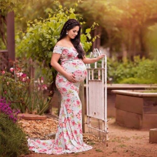 Pregnant Women Maxi Dress Maternity Gown Photography Props Dresses Off Shoulder