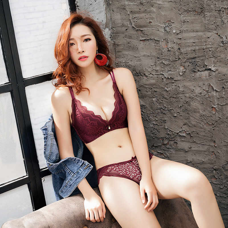 New Sexy Lace   Bra     Set   Floral Embroidery Deep V Women Underwear   Set   Top Padded Push Up Lingerie   Bra     Brief     Sets