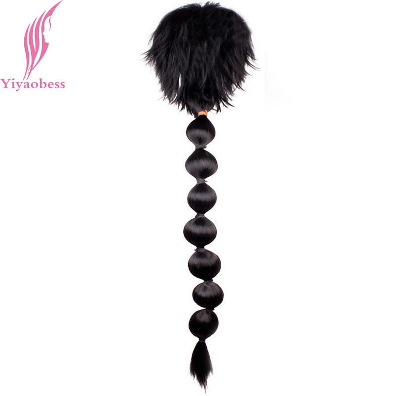 Yiyaobess 100cm Magi Judaru Black Cosplay Wig With Ponytail Long Synthetic Hair Wigs For Costume Party