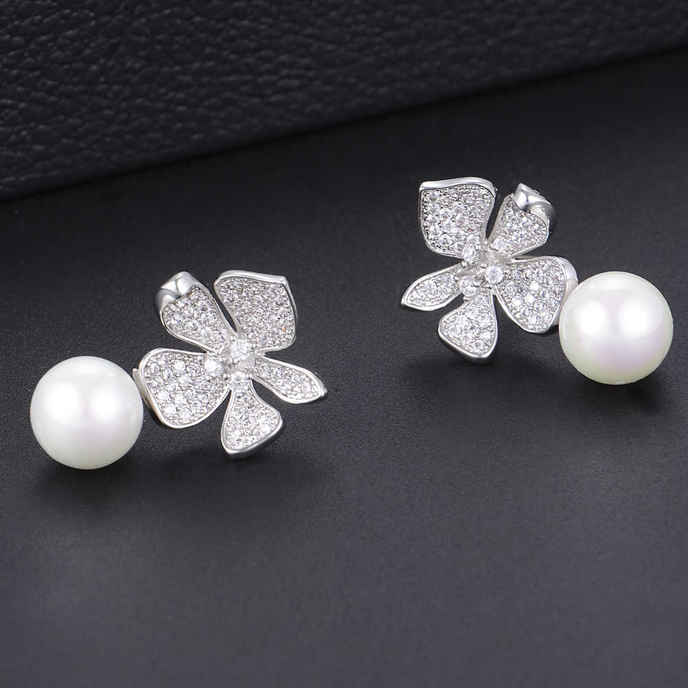 GODKI Fashion Simulated Pearl Flower Crystal Cubic Zirconia Women Stud Earrings for Wedding Jewelry pendientes mujer mod 2018