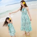 Parent-child outfit 2016 summer beach dress new mother daughter of dress skirt with shoulder-straps Bohemian dress chiffon dress