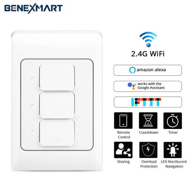 BeneXmart WiFi Smart Wall Switch Alexa Echo Google Assistant Home Enable  Tuya/SmartLife APP Control 1 2 3 Gangs Switches
