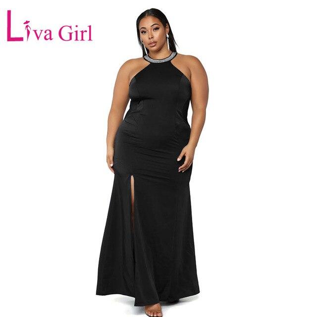 acdac4690b173 LIVA GIRL Black Sleeveless Plus Size Maxi Dress Women Sexy Twisted Mesh  Rhinestone Hollow Out Party Long Dresses Robe Vestidos