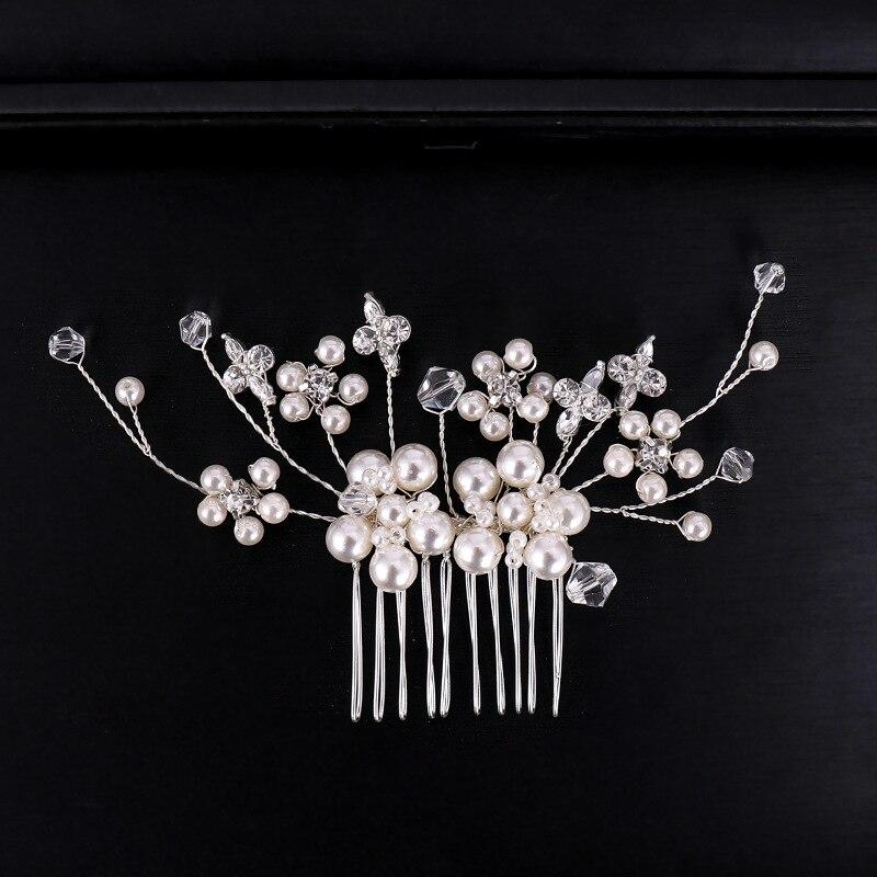 Silver Pearl Crystal Hair Combs (4)