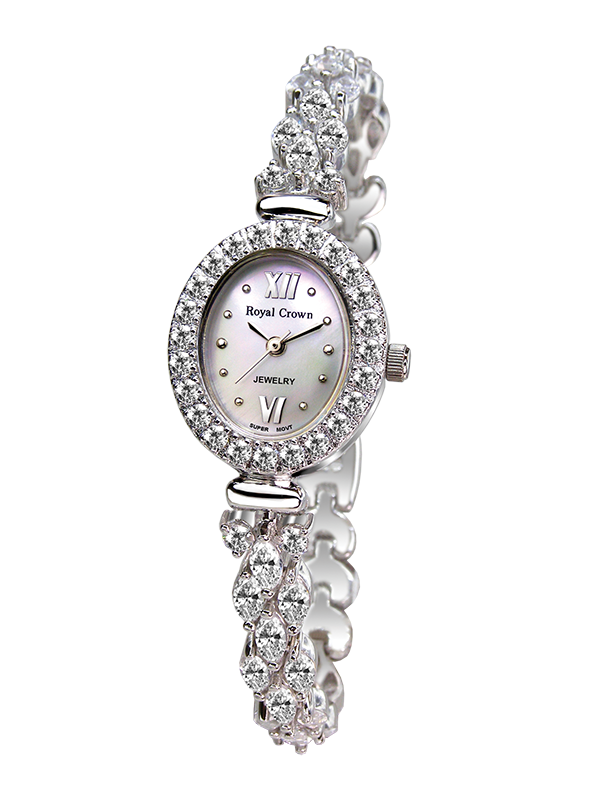 Royal Crown Jewelry Watch 1516B Italy brand Diamond Japan MIYOTA platinum female fashion bracelet waterproof quartz watch royal crown jewelry watch 1514b italy brand diamond japan miyota platinum bracelet korean version female watch fashion
