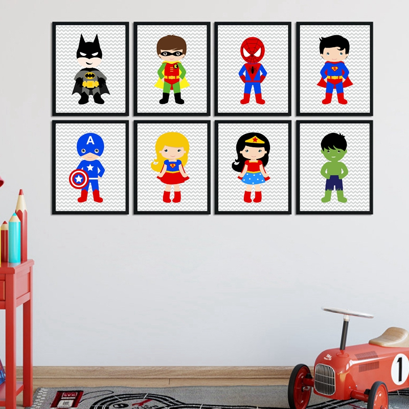 US $3.42 20% OFF|Superhero Wall Art Canvas Print and Poster Boys Bedroom  Decor , Superhero Nursery Decor Canvas Painting Wall Picture Baby Boy-in ...