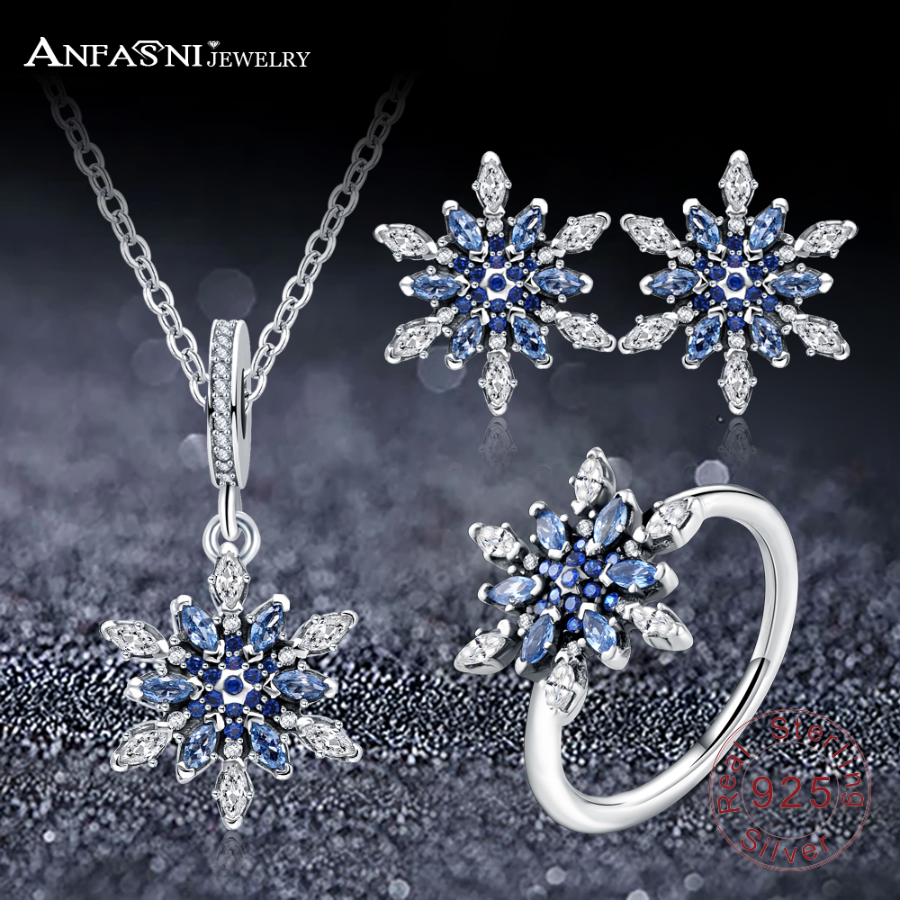 Anfasni High Quality 925 Sterling Silver Snowflake Shape