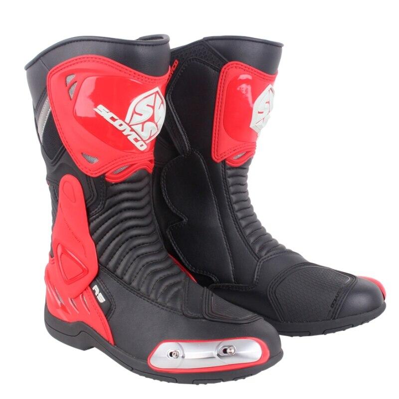 Scoyco MR001 Moto Racing кожаные мотоботы обувь мотоцикл для верховой езды Спорт дорожный Скорость Профессиональный Botas мужчины белый красный