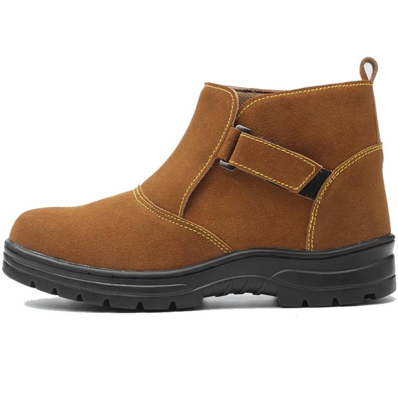 Homens Aço Respirável Segurança Ocasional Anti Couro Plus Botas Dos Biqueira Pierce Tampa Vestido Sapatos Size Camurça De Soldador Elétrico Vaca Trabalho pfSzxt