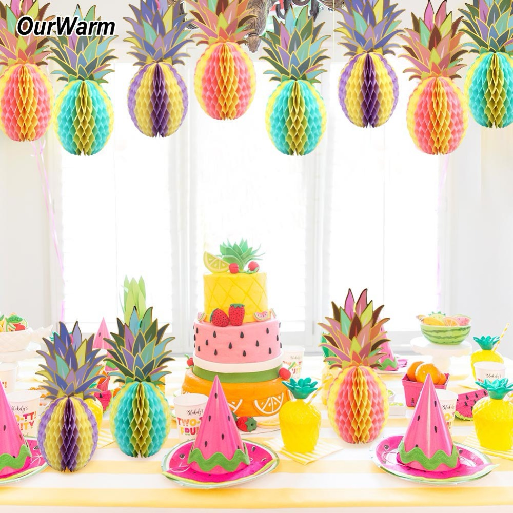 OurWarm Hawaiian Party Decorations 3PCS Paper Hanging Pineapple ...