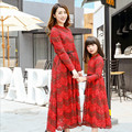 Mirada de la familia de madre e hija vestidos largos a juego madre hija ropa vestido de Encaje de Algodón Bohimian madre hija trajes