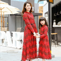 Family Look Mother Daughter Long Dresses Matching Mother Daughter Clothes Dress Lace Cotton Bohimian Mother Daughter