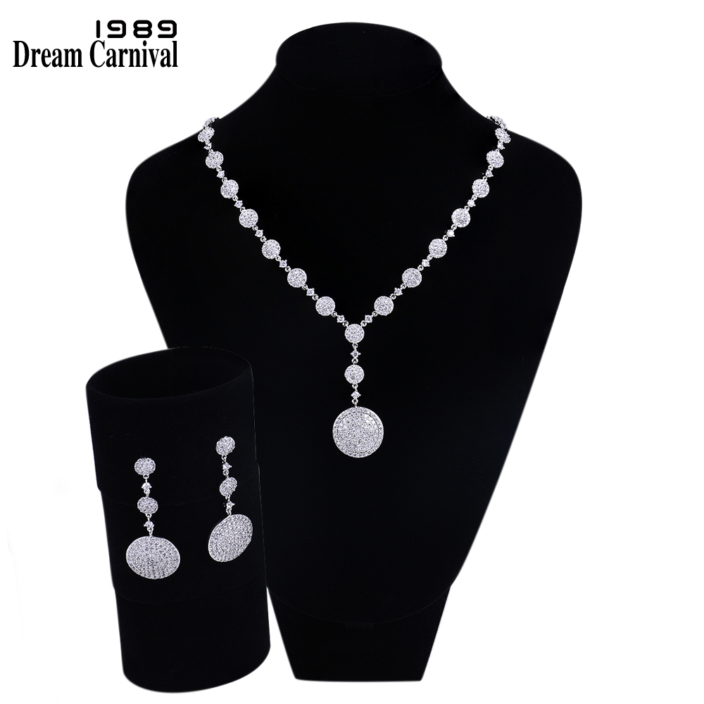 DreamCarnival1989 Necklace and earrings White Cubic Zirconia Rhodium Gold color Bridal Jewelry Sets Parure Bijoux Femme