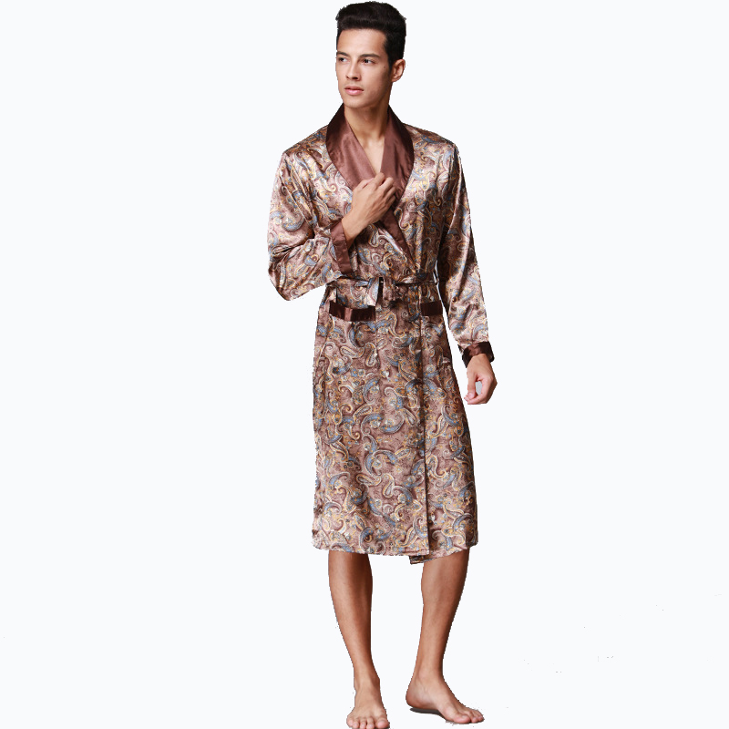 Men s Silk Satin Bathrobe Robe Long Sleeve Silk Pajamas Men Silk Nightgown  Sleepwear kimono home Dressing Gown b155da438