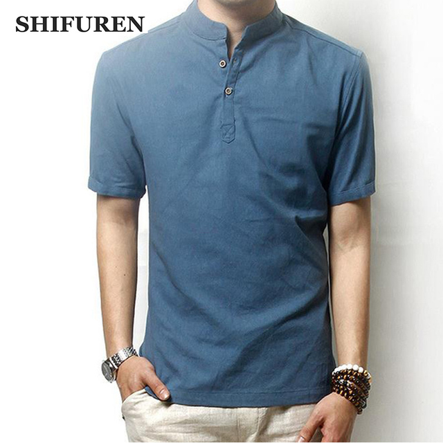 4a79cb02e SHIFUREM New Summer Causal Men Linen Cotton Shirts Short Sleeve Soft  Breathable Chinese Mandarin Collar Male Dress Shirts Tops