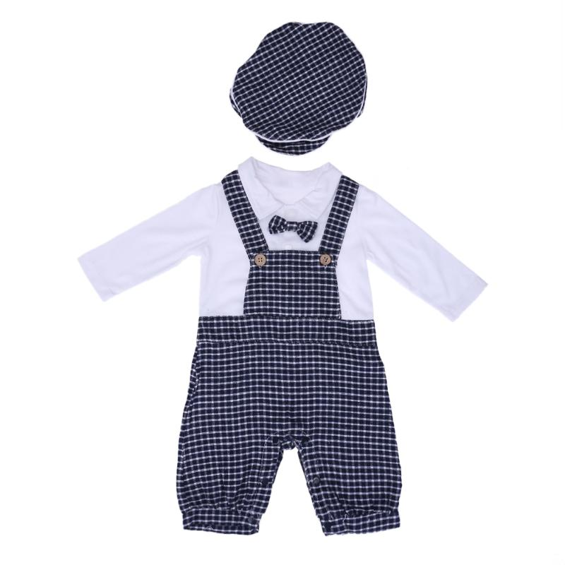 Newborn Baby Boy Romper Long Sleeve Plaid Tie Strap Baby Clothing Costume Set with Hat Autumn Baby Clothes Set