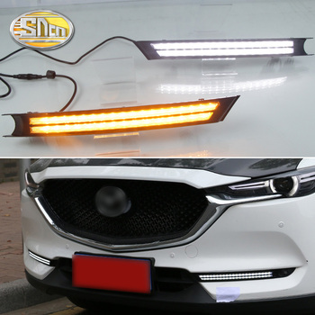 SNCN 2PCS LED Daytime Running Light For Mazda CX-8 CX8 2018 2019 Flowing Turn Signal Relay ABS 12V DRL Fog Lamp Decoration