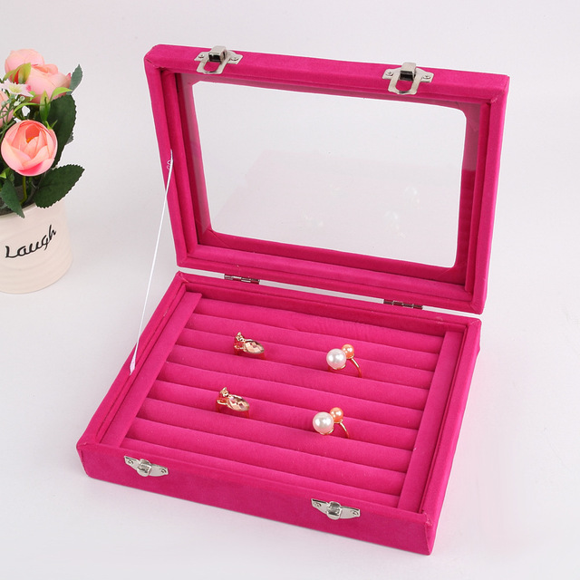 2017 Newest Rose Pink 8 Booths Velvet Carrying Case with Glass