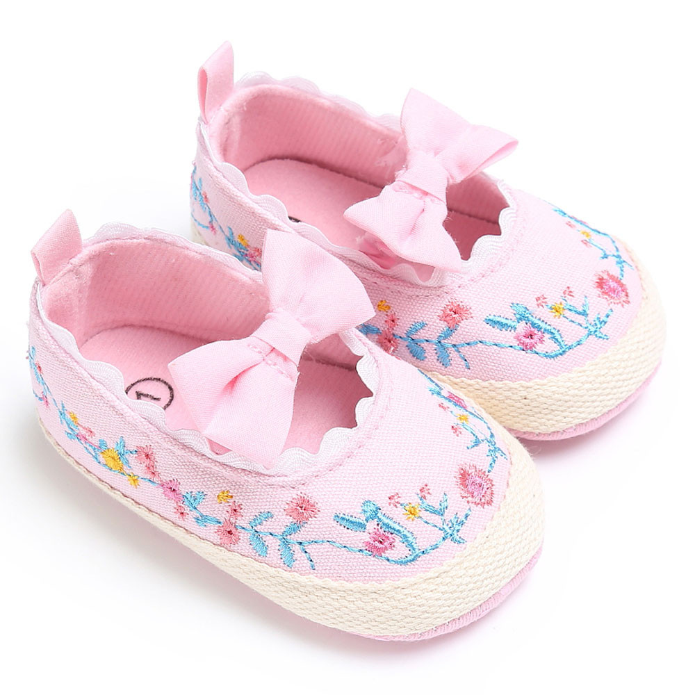 Baby Infant Kids Girl Soft Floral Bow Lace Crib Toddler Newborn Shoes New Style First Walkers
