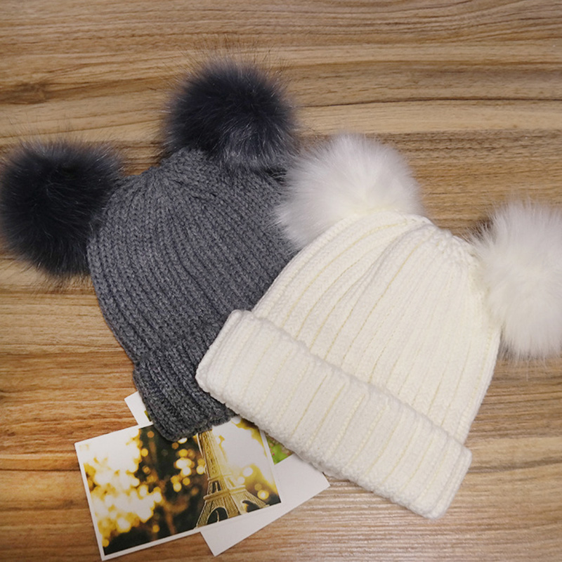 BONJEAN Fur Pompom Hat Women Winter Caps Knitted Wool Cotton Hats Two Pom Poms Skullies Beanies Bonnet Girls Female Cap mother and kids 2017 winter caps fur pom poms hats for women faux fur beanies wool knitted pompom hat baby boys girls skullies