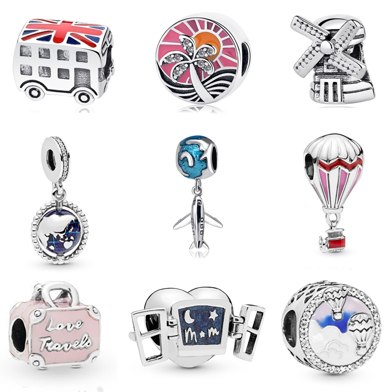 Authentic 100?5 Sterling Silver Charm Beads Love to Travel Theme Charms Fit Original Pandora Bracelets Women DIY Jewelry|silver charms beads|charm beadsfit pandora bracelet - AliExpress