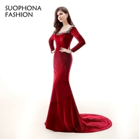 Prawdziwe zdjęcia Aksamitne Z Długim rękawem Czerwona suknia wieczorowa 2017 Robe de wieczór sukienek Vestido de festa Kaftan wieczorowej sukni