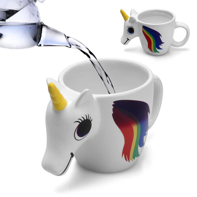 Magic Color Changing Unicorn Mug with Handle Heat Sensitive 3D Rainbow Horse Mug Ceramic Coffee Mugs Milk Cups Birthday Gifts