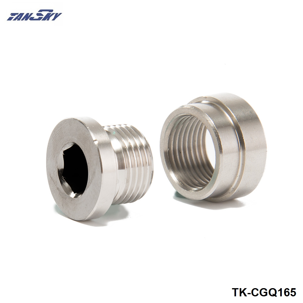 2Pcs Exhaust Pipe Base Nut Bung O2 Oxygen Sensor 430 Stainless Steel M18 x 1.5 !